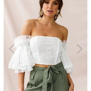 White lace crop bell sleeve top